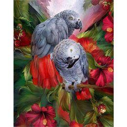 Wholesale Canvas Bird Paintings - 5D DIY Diamond Painting Bird &Flower Cross Stitch Lover Parrot Animal Needlework Home Decorative Full round Diamond Embroidery r104