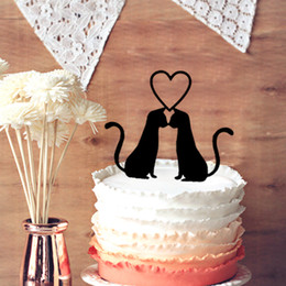 Wholesale Cupcake Funny - Wedding Cake Toppers, Cute 2 Cats in Love Wedding Cake Topper, Wedding Anniversary Cupcake - Funny Cats Silhouette