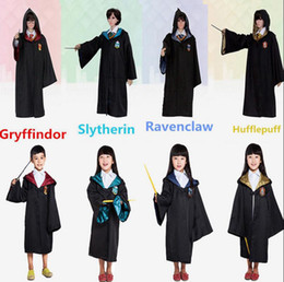 Wholesale Blue Cloak Costume - Harry Potter Cosplay Costume Robe Kids Adult Gryffindor Slytherin Ravenclaw Hufflepuff Cloak Halloween Cosplay Clothes OOA2869