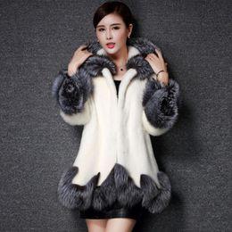 Wholesale Long Mink Fur Collar Coat - Fashioneer Faux Fur Coat Women White Black with Hat Fur Jacket Mink Luxury Women Long Coat Imitation Fur Jacket Women Coat Plus Size 3XL