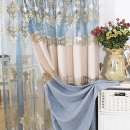 Wholesale Half Live - New Arrival Linen Splice Curtains For Live Room Water Friendly Bedroom Half Blackout Curtains Embroidery Valance Curtain Blue Color #Gauze
