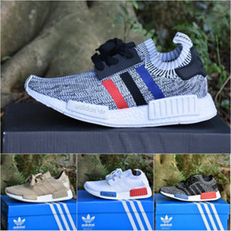 Wholesale Cream Mesh Top - Wholesale Adidas Originals NMD R1 Primek Top Quality Running Shoes Classic Color Mesh Triple White Cream Salmon Athletics Sneakers US 5-11.5