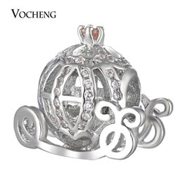 Wholesale Oval White Bead - Pumpkin Carriage Beads Charms Filled CZ Stone Brass Material Platinum Plated Vn-1655