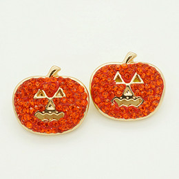 Wholesale Rhinestone Pumpkin - Fashion KZ1133 Beauty 10pcs Rhinestone Halloween pumpkin 18MM ginger snap buttons for DIY ginger snap Jewelry Accessories charm