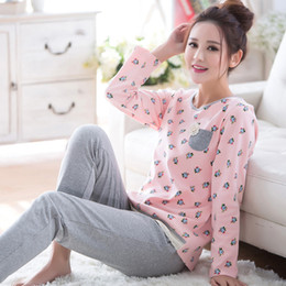 Wholesale Sexy Purple Nightgown Long - Wholesale- 2017 Autumn Women Cotton Sleepwear 2 Pieces Set Long Sleeve Pajama Sets Nightgowns Home Clothes For Women Casual Nightwear M-2XL