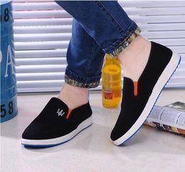Wholesale black maserati - 2018 Autumn Shoes Men Designer Loafers Breathable Casual Canvas Shoes Slip-On Maserati Logo Shoes Men Blue Bottom Footwear Black Blue Gray
