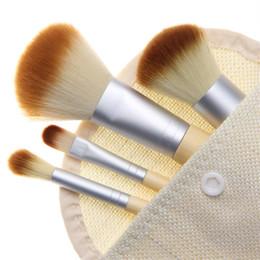 Wholesale Plastic Holiday Gift Bags - Makeup Brushes Set 4Pcs Set Kit Professional Bamboo Elaborate Concealer make Up brush Tools With Case Natural bamboo handle Holiday Gift bag