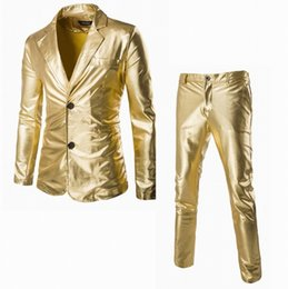 Wholesale Flashing Party Wear - Cool Men Stage Wear Flashing Gold Silver Black Suit Set Wedding Party Singer Wearing Shining Stage Suits Pants