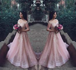 2019 festa vintage Novo árabe saudita fora do ombro vestidos de baile com decote em v ilusão mangas compridas rosa vestidos de festa de renda apliques à noite vestidos de festa desconto festa vintage