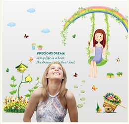 Wholesale Rainbow Wall Stickers Kids - 50*70cm Wall Stickers DIY Art Decal Removeable Wallpaper Mural Sticker for Living Room Bedroom AY7264 Rainbow Swing Girls