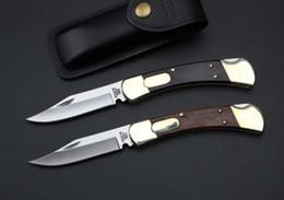 Wholesale Buck Lock Blade Knife - buck 110 survival knife Wooden handle folding monoblock brass 2 locks automatic Tactical knife 2 styles hunting knife,Free shipping