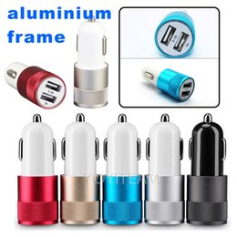 Wholesale Aluminium Frame - dual usb car charger 2.1A 2100mA with aluminium frame double usb charger for ipad iphone samsung samartphone in high quality