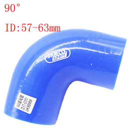 """Wholesale Silicone Elbow Hose Reducer - Blue Samco ID:57mm-63mm ID:2.24""""-2.5"""" Silicone 90 Degree Elbow Reducer Turbo Pipe Hose Air Intake Pipe Intercooler silicone pipe Universal"""