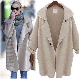 Wholesale-2016 New Winter Warm Solid Long Cardigan Sweater Women Shawl Collar Jacket Suit Turn-down Collar Thickened Wool Coats Fashion от