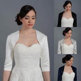 Wholesale Blue Satin Shrug - Custom Made Women Wedding Satin Prom Bolero Shrug Bridal Short Sleeve Jacket Plus Size