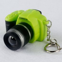 Wholesale Camera Led Light Keychain - Mini Colorful DSLR Camera Shape Toy Keychain Flash Torch Creative Pocket Flashlight LED Toy Key Ring Can Sound like taking real Photo