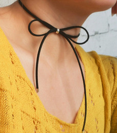 Wholesale Cheap Girl Bow Ties - Cheap New Fashion Chokers Jewelry Black Leather Bow Tie Choker DIY Necklace Gift For Women Girl RQ