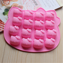 Stampi di gomma di gomma online-Stampi in silicone Hello Kitty Cake Decorating Cake Mold Cake Tools Handmade Craft Rubber Chocolate Mold 16 Holes per Sheet