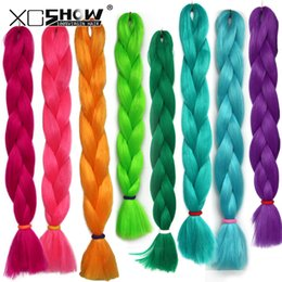 "Wholesale Expression Braids - 10 Colors Braiding Hair Expression Braids African Ultra Braid 60"" 100G Synthetic Hair For Braids White Blue Green Purple Red More Colors"
