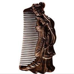 Wholesale Ebony Hair - Mybasy hot sale1pcs Beauty wood comb carved sandalwood gift comb luxury hardwood ebony comb send girlfriend birthday gift the best choice