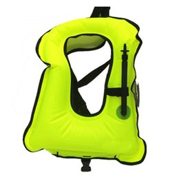 Wholesale Diving Inflatable - Wholesale- Free shipping Inflatable life jacket Super light Buoyancy vest Float ring swim Snorkeling dive suit Equipment swim Adult Kids