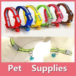 Wholesale Kitten Collars Bells - Colorful Pet Dog Puppy Cat Kitten Soft Glossy Reflective Collar Safety Buckle with Bell Pet Supplies
