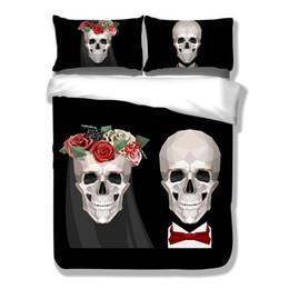 3pcs textiles para el hogar cráneo personalidad de la boda edredón Twin completo tamaño queen blanco poliéster ropa de cama establece patrón floral desde fabricantes