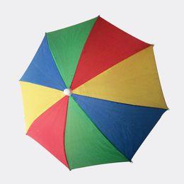 Wholesale Sunny Hats - Factory Sale-4 Colors Rainbow Umbrella Hat Cap Sun Shade Camping Fishing Hiking Festivals Outdoor Brolly 30pcs