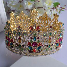 Wholesale Colorful Headpiece - 2016 New Colorful Bridal Tiaras Crowns Crystal Rhinestone Pageant Bridal Wedding Accessories Headpiece Headband Wedding Tiara