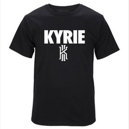 Wholesale Wholesale Spandex Cotton T Shirts - Wholesale-2016 Summer Fashion Brand Men Casual T shirt Letter Kyrie Irving Sport Tees Top Basketball Training Cotton T-shirts T-F11459