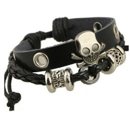 Wholesale Genuine Crystal Bracelets - New Handmade Retro Genuine Leather Woven Skull Charm Bracelet Men Vintage Braided Bracelets Bangles Male Jewelry Free Shipping