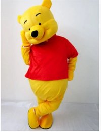 Wholesale Child Size Mascot - Real Pictures Deluxe Winnie the Pooh POOH BEAR Mascot costume Adult SIZE,Halloween Party Children Fancy dress ,factory direct,free shipping
