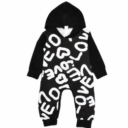 Wholesale Baby Winter Leopard Rompers - Love Letters Rompers Jumpsuits New Kids Clothing Sets Winter Autumn Spring Long Sleeve Baby Casual Suits Infant Rompers 0-24M