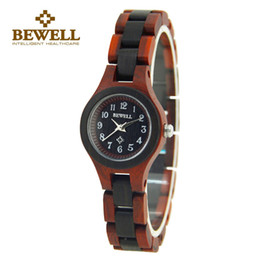 Wholesale Mechanical Watch For Girl - BEWELL Wood Watch Wristwatch Quartz Watch for Women Top Brand Luxury Small Round Dialwatch free shipping Girl 123A
