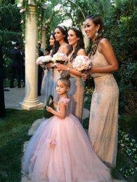 Wholesale Hot Pink Fluffy Dresses - 2017 Lovely Fluffy Tulle Blush Pink Girls Pageant Dresses Hanamde Flowers Ball Gowns Flower Girls Dress For Wedding Hottest
