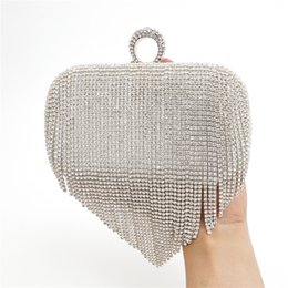 Wholesale Beaded Luxury Ring - Factory Direct Tassel Rhinestones Clutch Women Evening Bags Beaded Luxury Ladies Handbags Finger Ring Vintage Evening Bag 8004