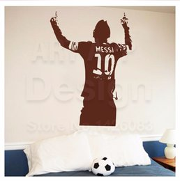 Wholesale Large Sport Wall Pieces - Messi sports socker wall stickers decoration decor home decal fashion waterproof bedroom living sofa family house glass