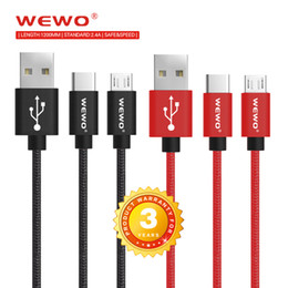 Wholesale Blackberry Data Transfer - WEWO 1.2M Fast Charging Phone Cables 2.4A Cellphone Charge Cable Data Transfer Micro USB Type C for All Phone with RetailPackage