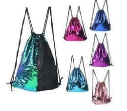 Wholesale Outdoor Clothing Fabrics - 2017 Mermaid Sequin Backpack Sequins Drawstring Bags Reversible Paillette Outdoor Backpack Glitter Sports Shoulder Bags Travel Bag 50pcs
