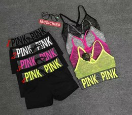 Wholesale Hot Bra Girls - Hot Sale pink Women's Tracksuits Fashion sweat Gym Bras Push Up Print tracksuit women Shorts Pullover Vest Elastic Tops set Girl Sport Suits