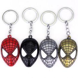 Wholesale Marvel Cartoon Characters - Free Shipping Marvel Super Hero Spider-man The Amazing Spiderman Keychain Metal Key Chain Keyring Key Rings
