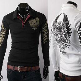 Wholesale Tattoo Sleeves Shirt Sale - Hot Sale New European Style Eagle Tattoo Printing Slim Long sleeve POLOS Shirts Lapel Free Shipping