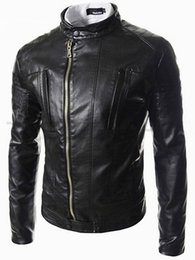 Wholesale Short Leather Jackets Sale - Fall-Hot Sale Men's Fashion stand collar oblique zipper placket leather jacket Men short paragraph washed leather motorcycle coat
