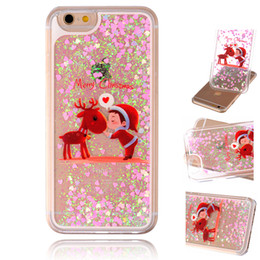 Wholesale 3d Christmas Iphone Case - For iphone 8 Christmas Day Gift 3D Dynamic Glitter Stars Liquid Quicksand Hard Phone Back Case Cover For Galaxy S8 6 7 Plus DHL sca338