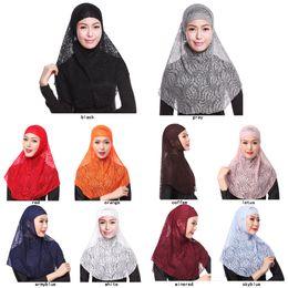 lenços muçulmanos de renda Desconto Atacado muçulmano rendas gorros senhora meninas mulheres cachecóis chapéu moda muçulmana wares Bandanas 10 cores