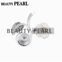Shell-charme entdeckungen online-5 Stück Perle Anhänger Erkenntnisse Weiß Shell Blume Blatt 925 Sterling Silber DIY Charm Anhänger Halterung