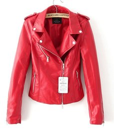 Wholesale-Leather jacket red black jacket new 2016 bomber motorcycle Leather jackets women 2 color  jacket jaqueta couro от Поставщики натуральная краска