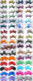 Wholesale Eyelash Extensions Color - Wholesale International color feathers exaggerated false eyelashes Modelling pictorial art show colored eye lashes extension stage makup