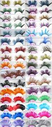 Wholesale Black Feather Eyelashes - Wholesale International color feathers exaggerated false eyelashes Modelling pictorial art show colored eye lashes extension stage makup