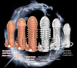 Wholesale Sexy Condoms - Extension Cock Rings Adult Sex Products Crystal Cock Rings Reusable Condom Sexy Toys Penis Sleeves High Quality non-toxicTPE